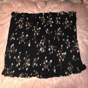 Black Floral Tube Top
